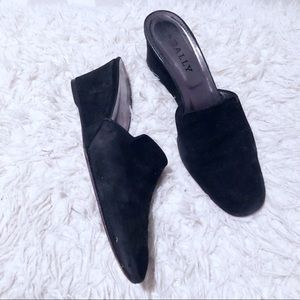 BALLY black suede mules!